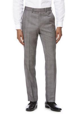 F&F Checked Regular Fit Suit Trousers Grey 38 Waist 31 Leg