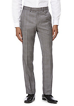 F&F Check Regular Fit Suit Trousers - Grey