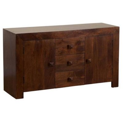 Homescapes Dakota Large Sideboard Dark Shade