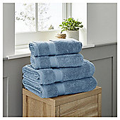 Fox & Ivy 4 Piece Egyptian Cotton Chambray Blue Towel Bale