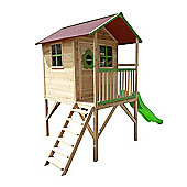 Pinewoods Den Wooden Playhouse with Slide