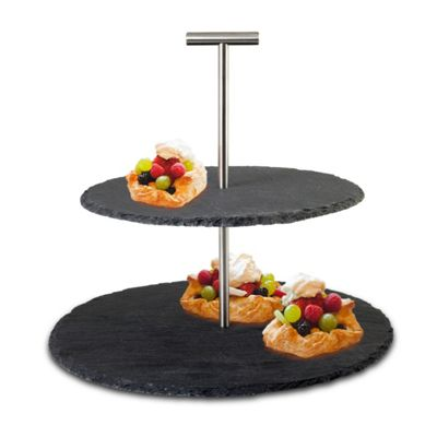Slate Cake Stand 2 Tiered Food Display Ideal for Serving Cupcakes Afternoon Tea and Cakes