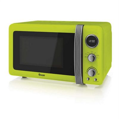 Swan SM22030LN Retro 800W Digital Microwave, 20L - Lime Green