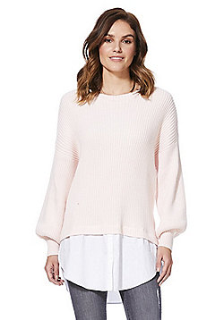 Noisy May Poplin Hem Insert Rib Knit Jumper - Pale pink