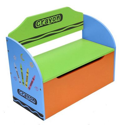 Kiddi Style Crayon Childrens Themed Wooden Toy Box & Bench - Blue