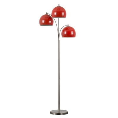 Dantzig 3 Arm Floor Lamp Base Brushed Chrome with Red Shades