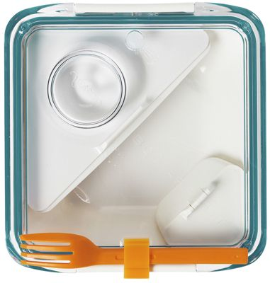 Black+Blum Box Appetit Lunch Box in White and Ocean Blue BA005