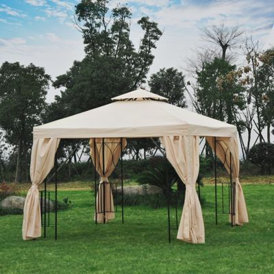 Outsunny Gazebo Sun Shade Shelter Garden Outdoor Party Wedding w/ Side Panel (Beige)