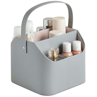 Buy Beautify Faux Leather Makeup Caddy With Carry Handle Grey With