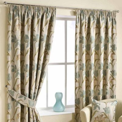 Homescapes Aqua Ready Made Jacquard Curtain Pair Floral Tapestry Design 46x90