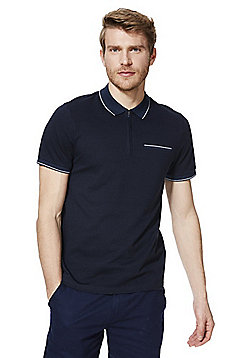 F&F Half Zip Short Sleeve Polo Shirt - Navy