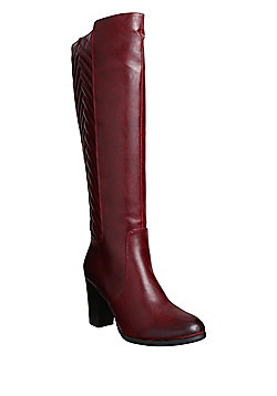 Manfield Chevron Textured Panel Knee High Boots - Red