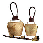 Set of 3 Traditional Swiss Cow Bells with Brown Leather Handles