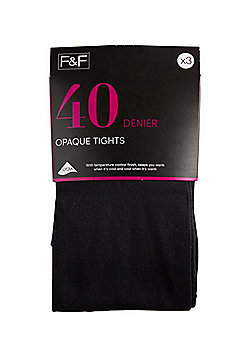F&F 3 Pack of 40 Denier Temperature Control Opaque Tights - Black
