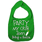 Dirty Fingers, Party my Crib 2am, Baby Feeding Bib in Green