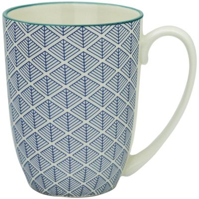 Geometric Design Porcelain Tea Coffee Mug Cups Blue 350ml