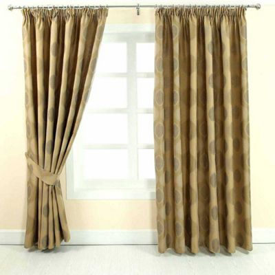 Homescapes Gold Jacquard Curtain Modern Curve Design Fully Lined - 66