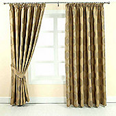 "Homescapes Gold Jacquard Curtain Modern Curve Design Fully Lined - 66"" X 90"" Drop"