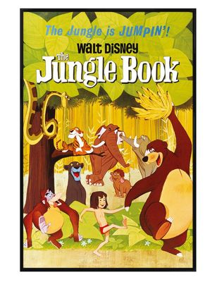 Walt Disney Gloss Black Framed The Jungle Book Jumpin Poster