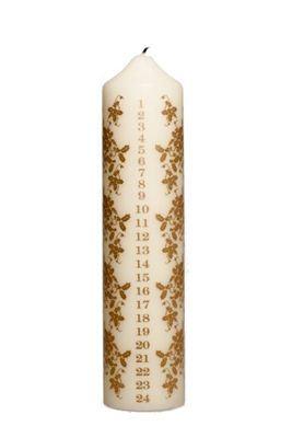 Stoneglow Candles Ivory Gold Chunky Advent Pillar Christmas Holly Design Candle