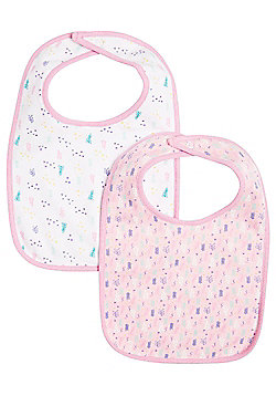 F&F 2 Pack of Ditsy Print Feeder Bibs - Pink