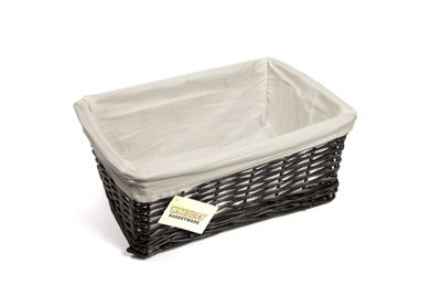 Woodluv Black Wicker Storage Basket With White Lining - Small