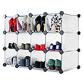 Andrew James Shoe Organiser - 12 Hole Shoe Rack in White