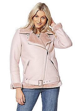 F&F Faux Shearling Aviator Jacket - Blush pink