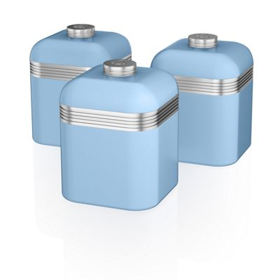 Swan Retro Set Of 3 Canisters Blue
