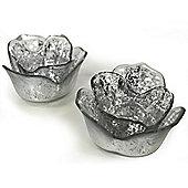 Lite - Glass Flower Shaped Tea Light Holder - Set Of Two - Silver