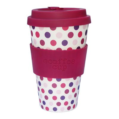 Ecoffee Cup Pink Polka with Maroon Silicone 14oz
