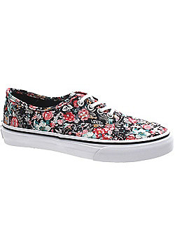 Vans Authentic (Multi Floral) Black/True White Kids Shoe WWXDL4 - Multi