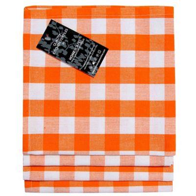 Homescapes Orange Block Check Cotton Fabric 4 Napkins Set