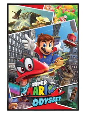 Super Mario Gloss Black Framed Odyssey Collage Poster 61 x 91.5cm