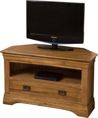 French Rustic Solid Oak Corner Tv Unit