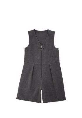 F&F School Soft Touch Pinafore Playsuit Grey 5-6 years