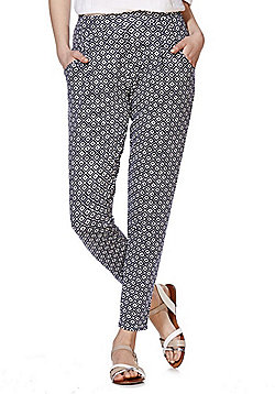 F&F Tile Print Trousers - Navy & White