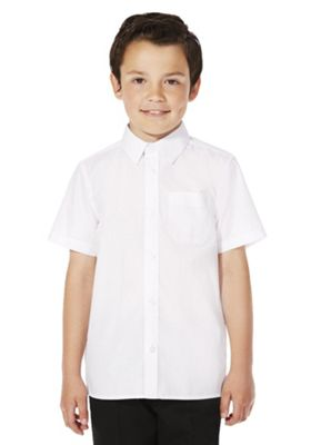 F&F School 2 Pack of Boys Easy Iron Short Sleeve Shirts 15-16 years White