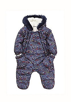 F&F Floral Shower Resistant Pramsuit with Mittens - Navy