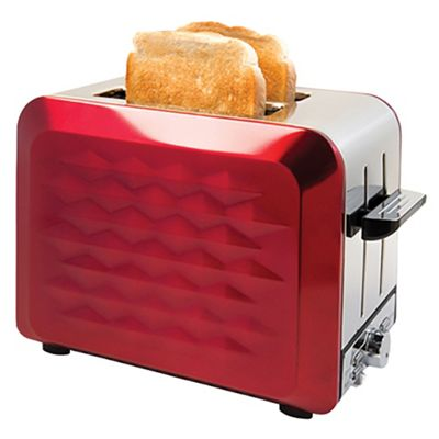 Quest 2-Slice Stainless Steel Diamond Cut Toaster, 850 W, Red