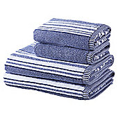 100% Cotton 2 Hand 2 Bath Towel Bale - Blue Marl Stripe