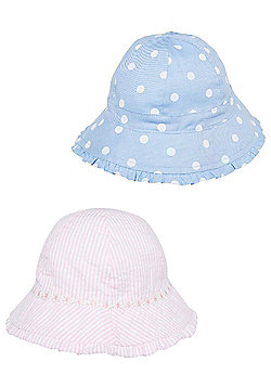F&F 2 Pack of Striped and Polka Dot Bucket Hats - Multi
