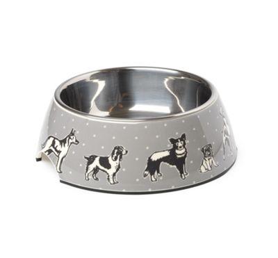 Polka Dogs Grey Bowl L
