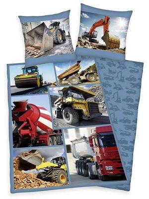 Trucks Diggers Single Duvet Cover and Pillowcase Set