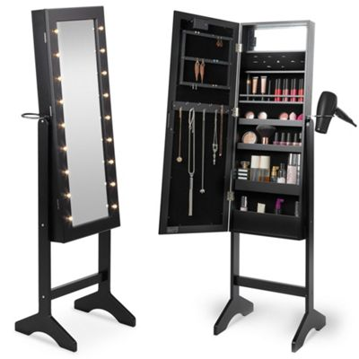 Beautify Make Up & Jewellery Floor Standing Storage Mirror - Black
