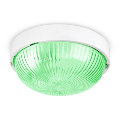 Arnside IP44 Bathroom Bulkhead Light, Gloss White & 4W Green LED Golfball Bulb