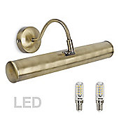 Gemini LED Twin Picture Wall Light, Antique Brass & Pygmy Bulbs