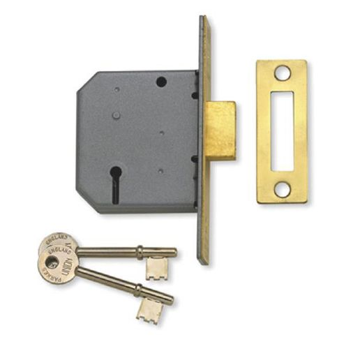UNION 2177 3 Lever Deadlock - 64mm PB KD Boxed