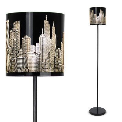 New York Skyline Floor Lamp, Gloss Black