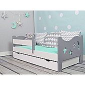 Camila Moon N Stars Toddler Bed - Grey & White And Drawer White